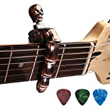 Guitar Capo Skull Knob Design Universal 4 5 6 12 Strings Instrument Capos with 3 pcs Guitar Picks for Electric Classical Acoustic Guitar Bass Ukulele Mandolin Banjo and More(Bronze)