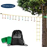 JOYMOR Ninja Obstacle Course for Kids, Extra Long 59 Foot Slack Line with Climbing Ladder, 3 Gymnastics Rings, 3 Monkey Bars, 3 Knots, 2 Tree Protectors, Ninja Warrior Training Line for Backyard Play