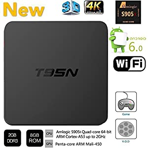 HONGYU Latest Version T95N Mini M8S Pro Android TV BOX 2G/ 8G Amlogic S905 Quad core cortex-A53 Android 6.0 Support HDMI 2.4GHZ Wifi Streaming Media Player