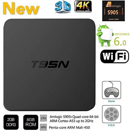 HONGYU Latest Version T95N Mini M8S Pro Android TV BOX 2G/ 8G Amlogic S905 Quad core cortex-A53 Android 6.0 Support HDMI 2.4GHZ Wifi Streaming Media Player by Hongyu