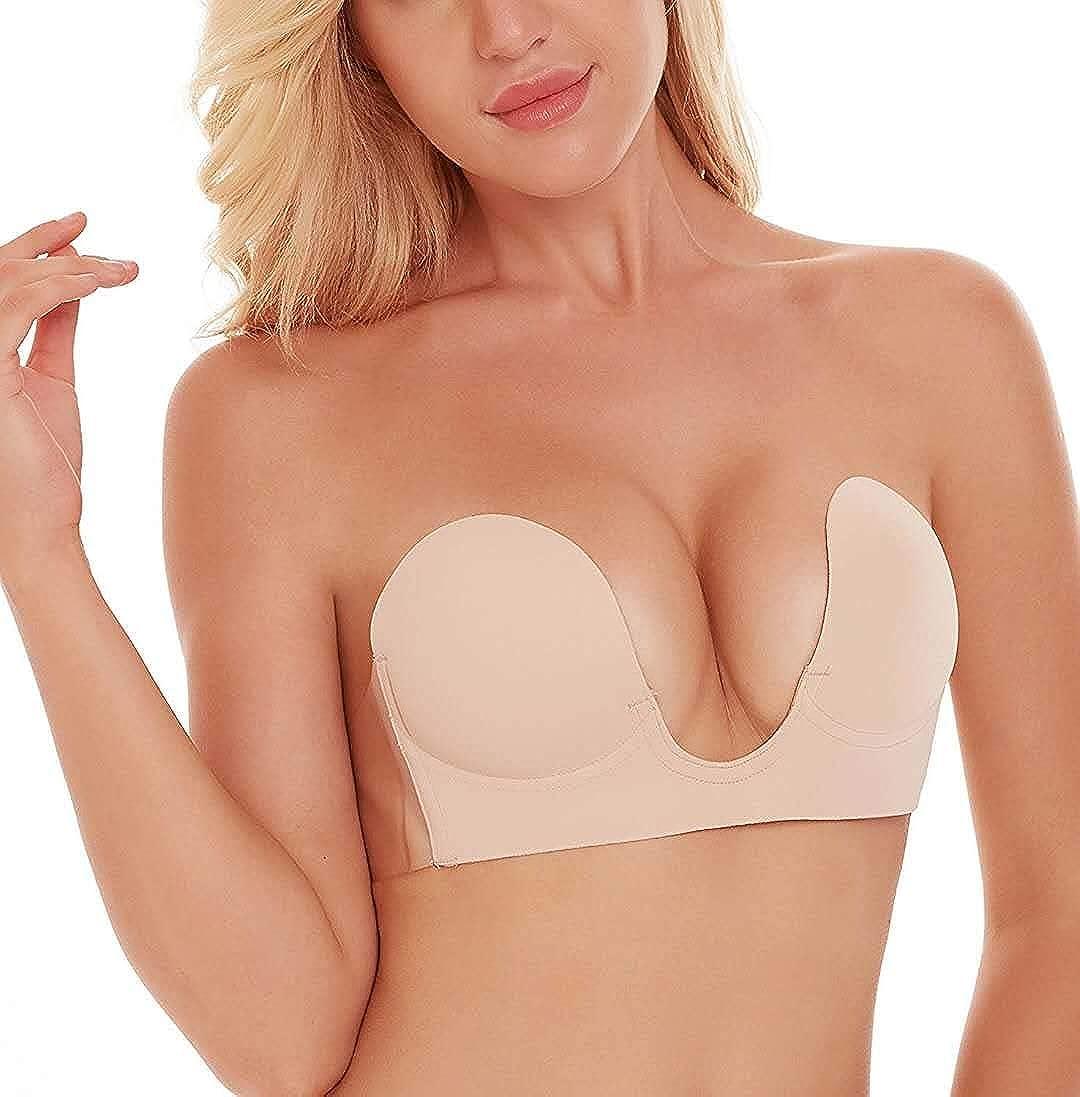 MITALOO Adhesive Bra Deep U-Shaped Silicone Bra Reusable Backless Sticky Bra Push up Strapless Sticky Bras for Women Beige