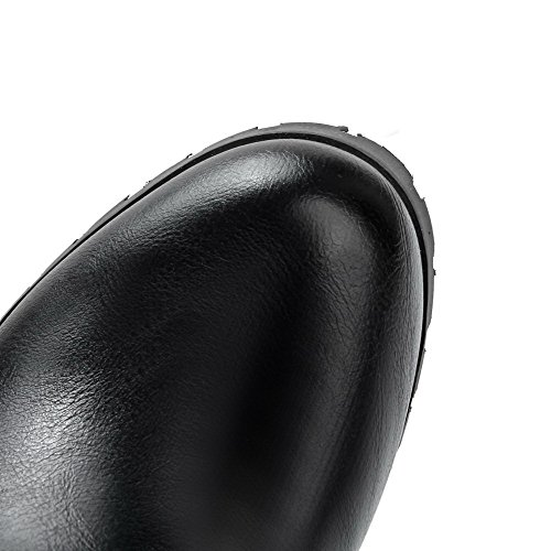 AmoonyFashion Solid Closed Pull Heels High Material Round Women's Black Boots on Soft Toe ROqxRgwr