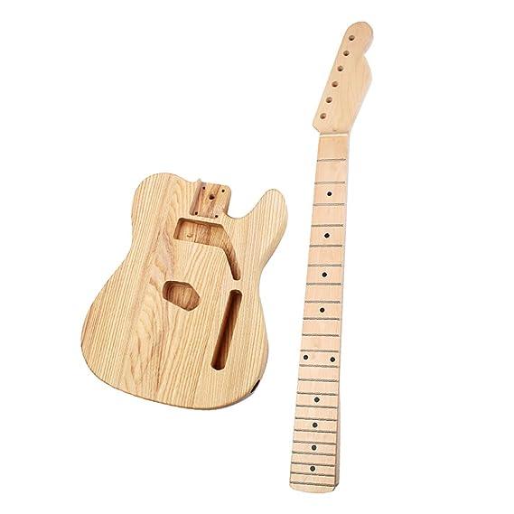 Sharplace Cuerpo de Guitarra Eléctrica Sin Terminar Con Mástil de Guitarra Fundas Accesorios: Amazon.es: Instrumentos musicales