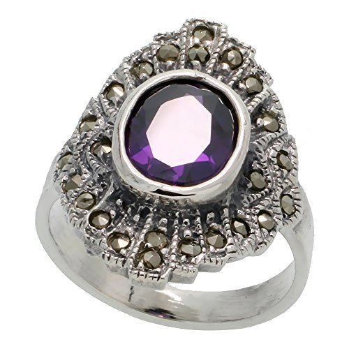 Sterling Silver Marcasite Ring, w/ Oval Cut Amethyst CZ, 3/4 inch (21 mm) wide, size 7