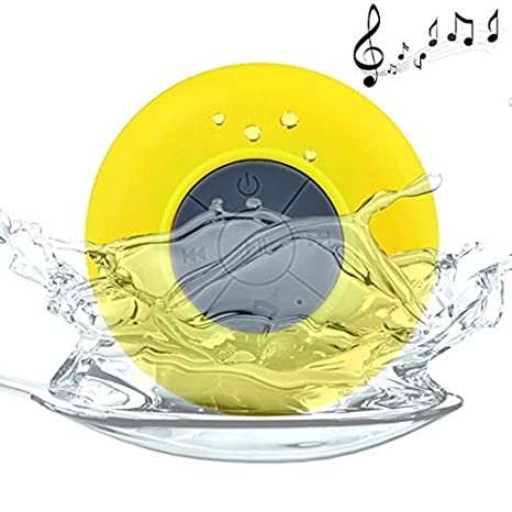 Mobizu Hands free Mini Portable Waterproof Bluetooth Wireless Stereo Shower Speaker BTS 06 with Suction Cup   Yellow Bluetooth Speakers
