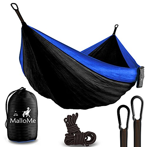 ing Hammock - Parachute Lightweight Nylon with Ropes or Hammok Tree Straps Set- 2 Person Equipment Kids Accessories Max 1000 lbs Breaking Capacity - Free 2 Carabiners ()