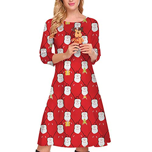 QBQCBB Women Xmas Santa Claus Print Dress Christmas for sale  Delivered anywhere in USA