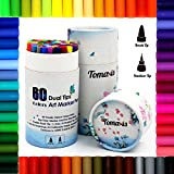#10: Bullet Journal 60pcs Art Markers 0.4mm Colored Pens Dual Tip Brush Marker Pens Fineliner Felt Tip Water Color Drawing Art Supplies