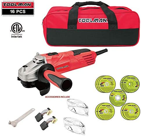Lion Tools DB5027B Toolman 16 pcs Electric Angle Grinder Disc Side Grinder 4-1 2 4.8 Amps Cut off Wheel with Safety Goggle Glasses Tool bag for cutting grinding metal or stone