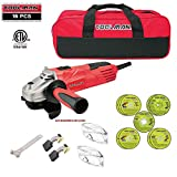 Toolman 16 pcs Electric Angle Grinder Disc Side Grinder 4-1/2' 4.8 Amps & Cut off Wheel with Safety Goggle Glasses & Tool bag for cutting grinding metal or stone works with DeWalt Makita Accessories