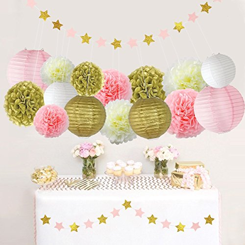Pink and Gold Party Decorations, Pom Poms Flowers Kit + Star paper Garland + Tissue Paper Lantern for 1st Birthday Girl Decorations Kids Birthday Bridal Shower Baby Shower wedding by Litaus - First Tea Party