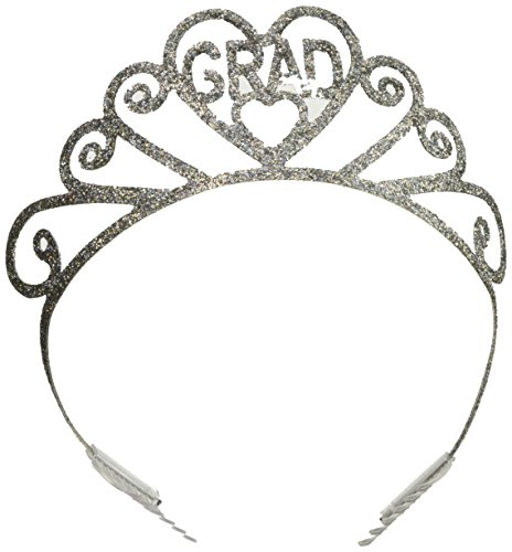 Beistle 60644 Glittered Metal Grad Tiara, One Size Silver ()