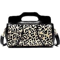 Leopard Print Ladies Shoulder Bag Patent Leather Diagonal Bag Soft Leather Handbag Fashion One Shoulder Messenger Large…