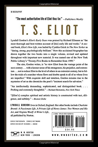 T S  Eliot: An Imperfect Life: Amazon co uk: Lyndall Gordon