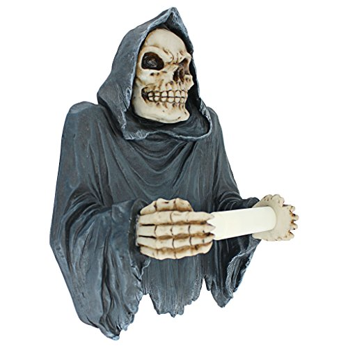 Design Toscano Toilet Paper Holder - Grim Reaper Tissue Tyrant Skeleton Bathroom Decor - Toilet Paper Roll - Bathroom Wall Decor -