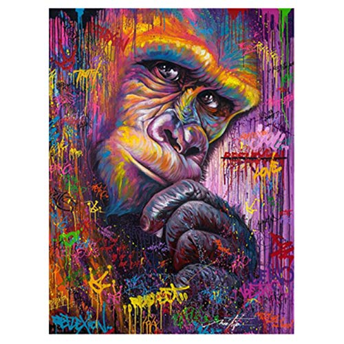 (LIPHISFUN DIY 5D Diamond Painting by Number Kit for Adult, Full Round Resin Beads Drill Diamond Embroidery Dotz Kit Home Wall Decor,30x40cm,Colorful Gorilla)