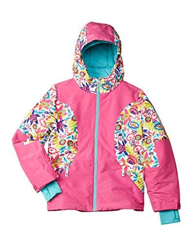(Spyder Girl's Dreamer Ski Jacket, White Large Ditz Print/Raspberry, Large)
