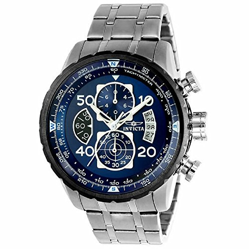 ( New!!! Invicta 22970 Men's Aviator Blue Dial Steel Bracelet Chronograph Compass Watch with SYB)