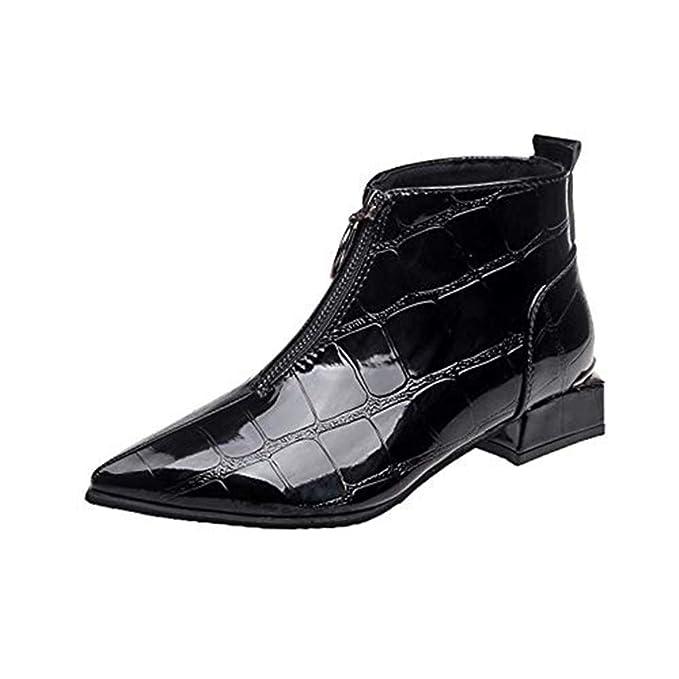 3a1e67de2e72e9 Selou Damen Mode Lederschuhe Zipper Stiefel Runde Kopf Schuhe Dicke spitze  Stiefeletten Schick elegant nackte Stiefel