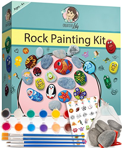 Rock Painting Kit by Creative Lily - Hours of Fun for Kids & Adults Hide and Seek - Complete Set with Rocks, Paints, Transfer Stickers, Paintbrushes, Instruction Guide - Craft Set Perfect for Gifts