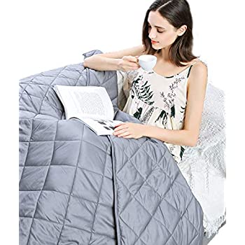 Image of Bedbee Weighted Blanket - Cool Breathable Cotton and Hypoallergenic Polyster Fabric for Both Soft and Breathable Cozy-Warm Sleep 48''72'' -15LB Bedbee B07Q3SMBB6 Weighted Blankets