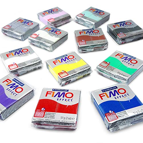 - FIMO Effect Modelling Clay Starter Pack - 12 x 57g - Multicolour Blocks