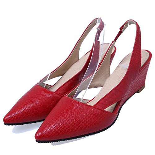 RAZAMAZA Mujer Moda Cerrado Puntiagudo Tacon de Cuna Sandalias Slingback Zapatos Rojo