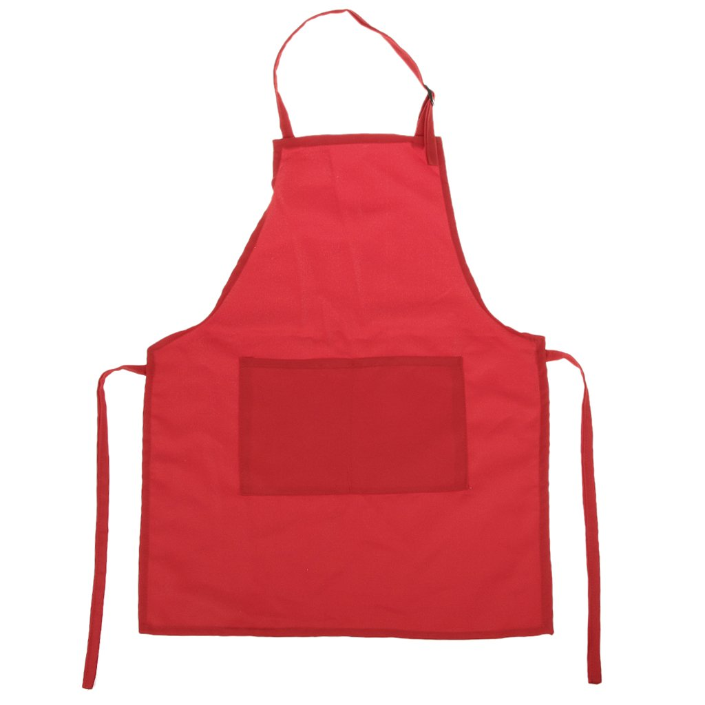 Adjustable Plain Kids Children Apron with Front Pocket Baby Art Cooking Bib - Red AEQW-WER-AW145259
