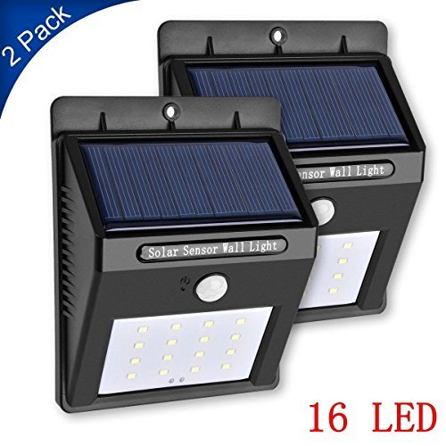 (Solar Light, Foreverrise Wireless Rainproof Solar Motion Sensor Light,Wall Light 16 LED Security Lighting for Patio, Yard, Garden,Outside Wall,Driveway,Deck ( 2 Pack))