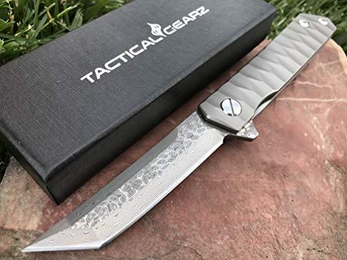 TG Saint XT, Damascus Blade! Full Tc4 Titanium Handle! Premium EDC Folding Knife! Fast Ball Bearing System! Tanto Tip! (Saint XT)