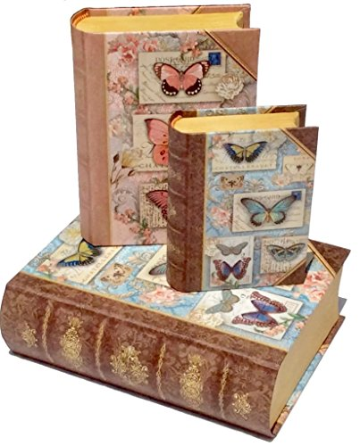 Punch Studio Set Of 3 Small Nesting Decorative Book Boxes   Blue Butterfly Collage 68679 68681