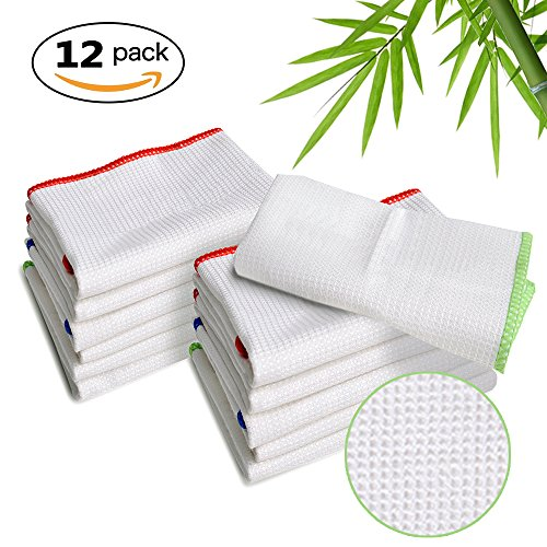 Luckiss 100% Bamboo Dish Cloths Cleaning Cloth and Dust Cloths Sets Super Absorbent Towels Soft Durable and Eco-friendly Cleaning Rags 12 x 12 inch 12 Pack Bamboo Dish Cloth