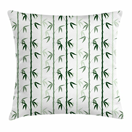 Price comparison product image Lunarable Bamboo Throw Pillow Cushion Cover, Asian Forest Inspired Pattern Feng Shui Theme Zen Spa Nature Design, Decorative Square Accent Pillow Case, 18 X 18 Inches, Dark Green Pale Green White