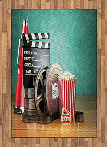 Ambesonne Movie Theater Area Rug, Production Theme 3D Film Reels Clapperboard Tickets Popcorn and Megaphone, Flat Woven Accent Rug for Living Room Bedroom Dining Room, 4 X 5.7 FT, Multicolor ()