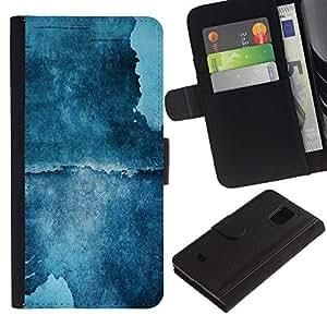 KingStore / Leather Etui en cuir / Samsung Galaxy S5 Mini, SM-G800 / Pintura azul del arte de la acuarela del acantilado Naturaleza