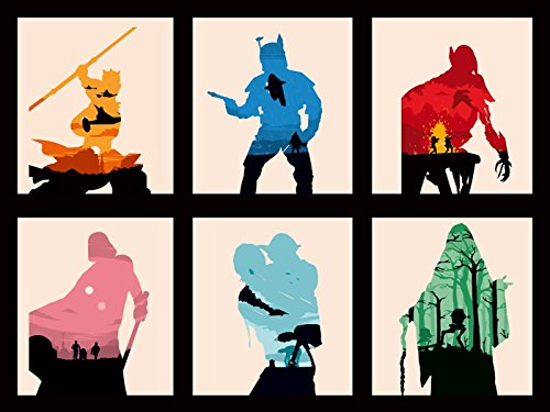 Sequel Poster (Star Wars 6 Movies Original Sequel Trilogy Characters 24x18 Print Poster)