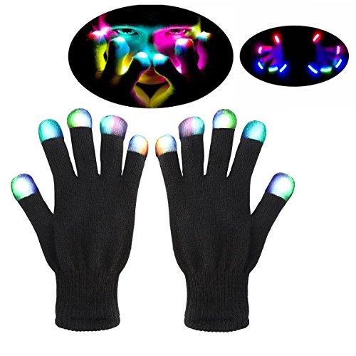 Aitsite Christmas Hallowmas Gants LED Party Light Show Gloves- Les meilleurs gants de danse Glove & Lightshow pour Clubbing, Rave, Anniversaire, EDM, Disco et Dubstep Party (Black White)