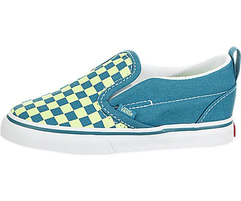 Vans Toddler Slip-On V (Checkerboard) Enamel Blue/Sharp Green VN0A3488U4V Toddler Size 7.5]()