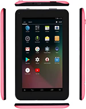 Haehne 7 inch Tablet, Android 6.0, Quad Core Processor, 1G RAM 16GB Storage, IPS Display, Dual Camera, FM, WiFi Only, Bluetooth, Pink