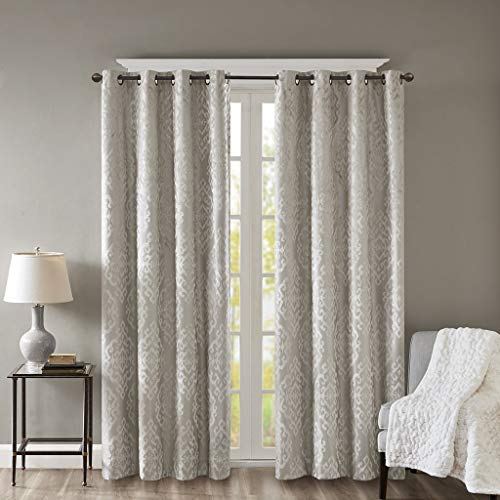 Blackout Curtains For Bedroom , Luxury Grommet Champagne Window Curtains For Living Room Family Room , Mirage Damask Fabric Grommet Black Out Window Curtain For Kitchen, 50X95