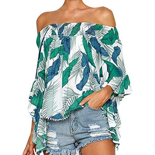 (Aunimeifly Women Elastic Slash Neck Stylish Blouse Ladies Sexy Ruffled Long Sleeve T-Shirt Tops Green)