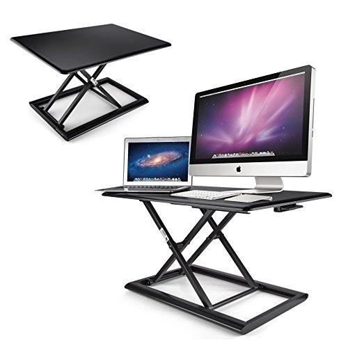 AboveTEK Compact & Solid Aluminum Standing Desk, 30'' Desktop Platform Height Adjustable w/ Smooth Air Assist, Instant Sit Stand Converter & Dual Monitor Laptop Computer Riser at Home & Office (Black) by AboveTEK