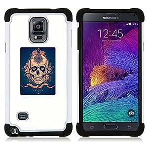 """Pulsar ( Cartel azul de oro del cráneo de Diamante"""" ) Samsung Galaxy Note 4 IV / SM-N910 SM-N910 híbrida Heavy Duty Impact pesado deber de protección a los choques caso Carcasa de parachoques"""