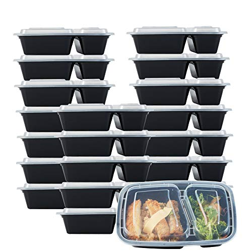 Nutribox [20 pack] 30 oz - meal prep containers 2 compartment lunch box with lids - BPA Free Reusable Lunch bento Box - Plastic food storage spill proof Microwave, Dishwasher and Freezer Safe 30 Ounce Plastic Container