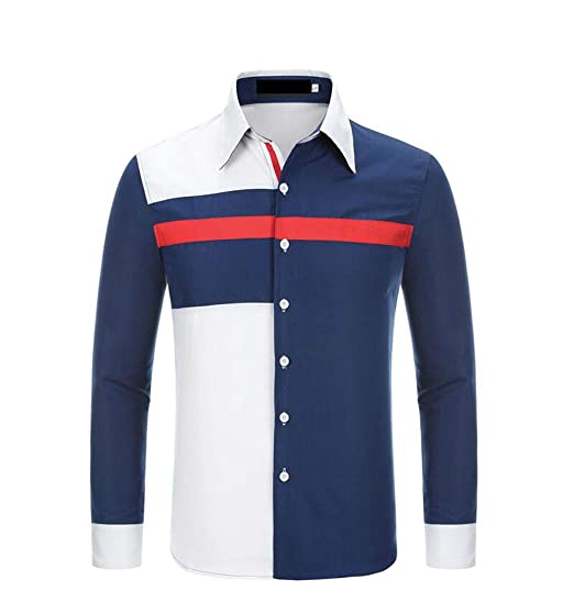 dc3bd9e6f40 GloryA Men s Button-Down Stylish Fit Contrast Color Top Splice Shirts Navy  Blue XS