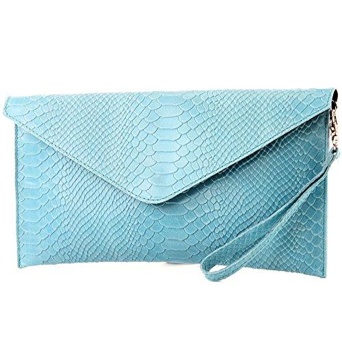 modamoda Leather leather bag Blue Wrist Clutch bag Light bag Smooth bag bag underarm T106S ital Wrist de Evening 1AFpnxrAw