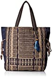 'ale by alessandra Women's Blue Skies Traditional Hand-Loomed Fabric Tote, Khaki/Blue, One Size