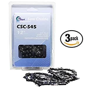 "3-Pack 12"" Semi Chisel Saw Chain for Poulan S25 Chainsaws - (12 inch, 3/8"" Low Profile Pitch, 0.050"" Gauge, 45 Drive Links, CSC-S45)"