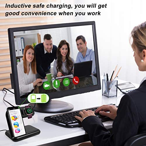 OenFoto 2 in 1 Fast Wireless Charger Stand Compatible with Fibit Versa 2 (Not for Versa)– Adjustable Charging Stand Cable Station Dock for Fibit Versa 2 and Wireless Cell Phone (with QC 3.0 Adapter)