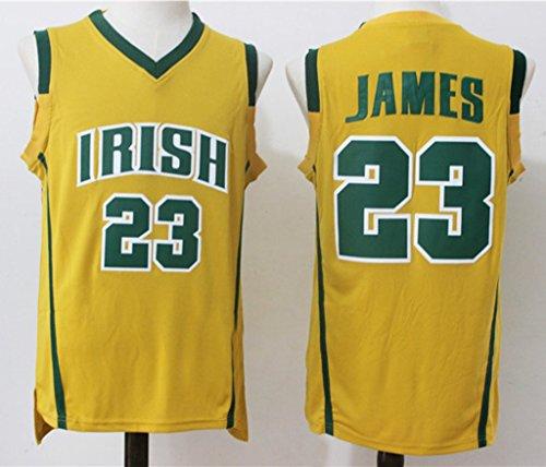 Mens LeBron James #23 Naturals High School Basketball Jersey Yellow XXL - Barack Obama Basketball